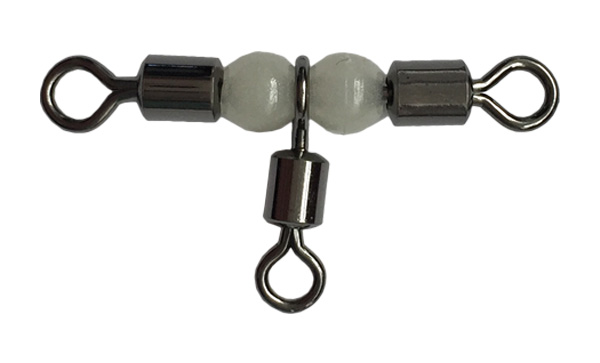 Cross-line rolling swivel with pearl beads fishing swivel